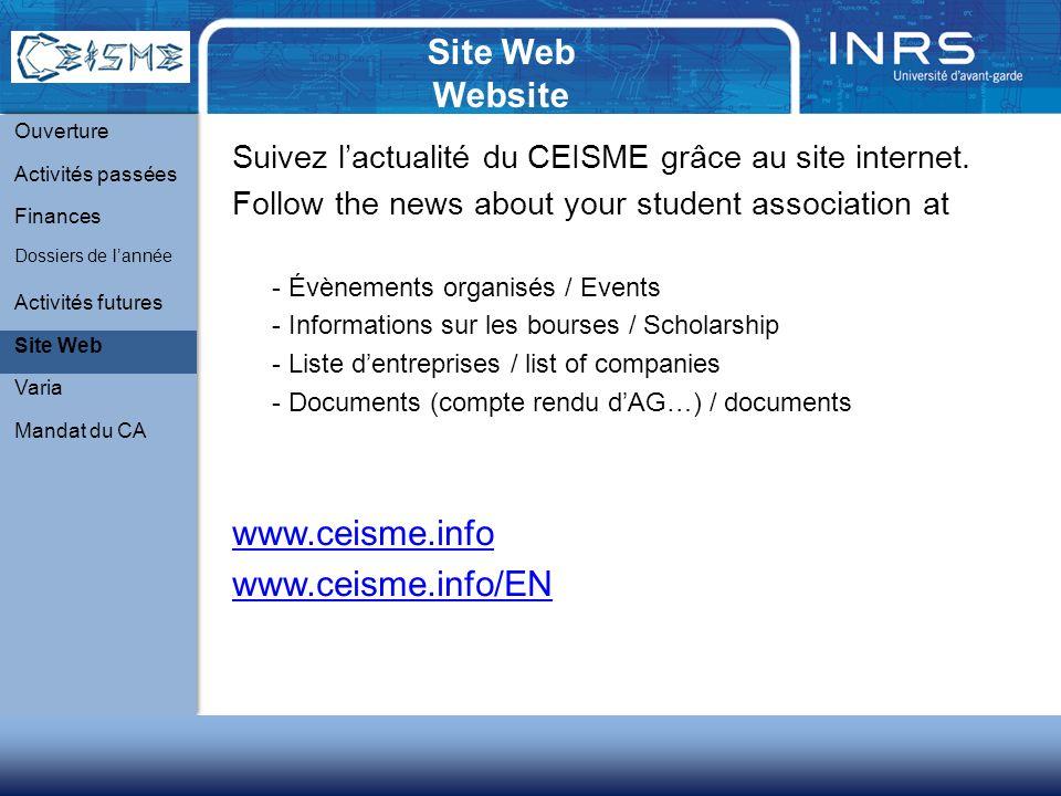 Site Web Website Suivez lactualité du CEISME grâce au site internet.