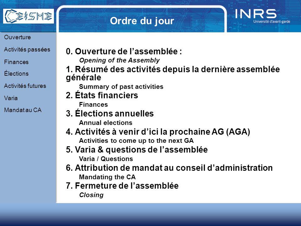 Ordre du jour 0. Ouverture de lassemblée : Opening of the Assembly 1.