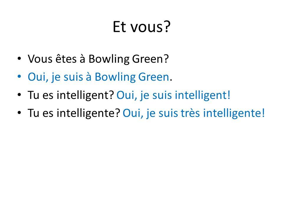 Et vous? Vous êtes à Bowling Green? Oui, je suis à Bowling Green. Tu es intelligent? Oui, je suis intelligent! Tu es intelligente? Oui, je suis très i
