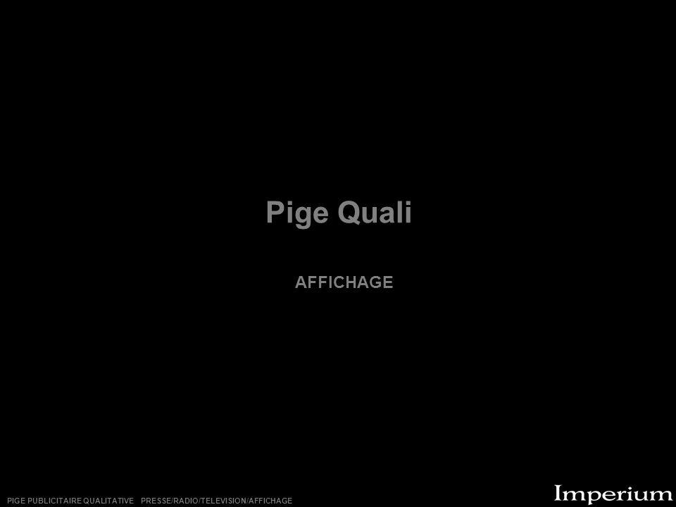 Pige Quali AFFICHAGE PIGE PUBLICITAIRE QUALITATIVE PRESSE/RADIO/TELEVISION/AFFICHAGE