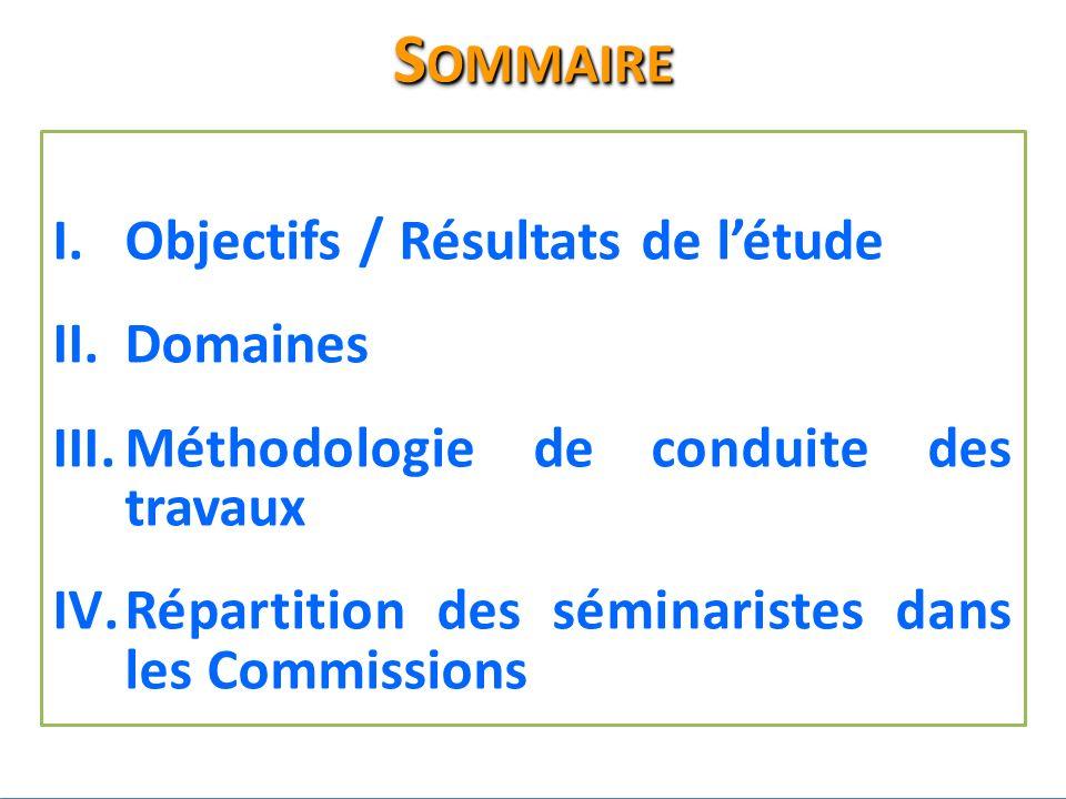 I.Objectifs / Résultats de létude II.Domaines III.Méthodologie de conduite des travaux IV.Répartition des séminaristes dans les Commissions S OMMAIRE