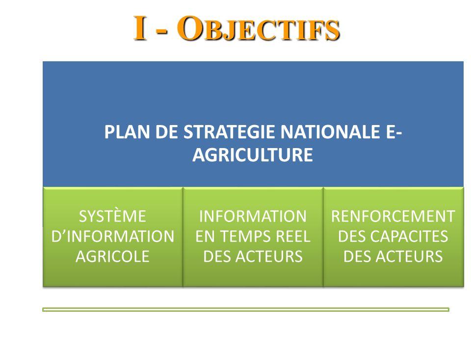 I - O BJECTIFS PLAN DE STRATEGIE NATIONALE E- AGRICULTURE SYSTÈME DINFORMATION AGRICOLE INFORMATION EN TEMPS REEL DES ACTEURS RENFORCEMENT DES CAPACITES DES ACTEURS
