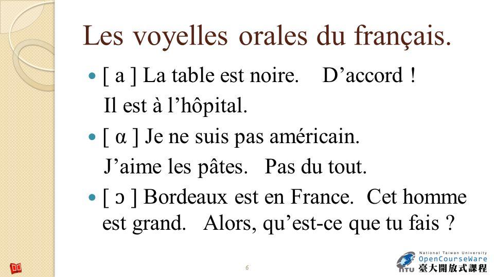 Les voyelles orales du français. [ a ] La table est noire.