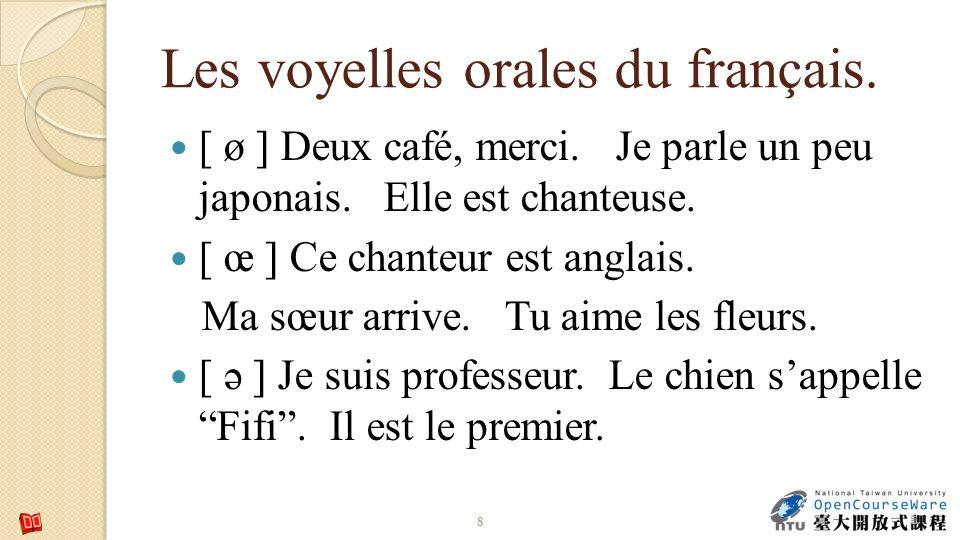 Les voyelles orales du français.[ ø ] Deux café, merci.