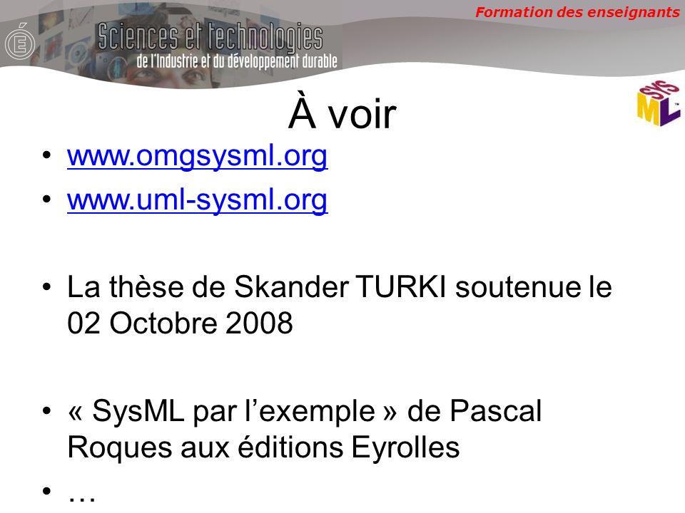 Formation des enseignants À voir www.omgsysml.org www.uml-sysml.org La thèse de Skander TURKI soutenue le 02 Octobre 2008 « SysML par lexemple » de Pascal Roques aux éditions Eyrolles …