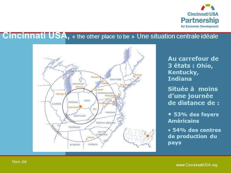 www.CincinnatiUSA.org Nov. 06 Cincinnati USA, « the other place to be » Une situation centrale idéale Au carrefour de 3 états : Ohio, Kentucky, Indian