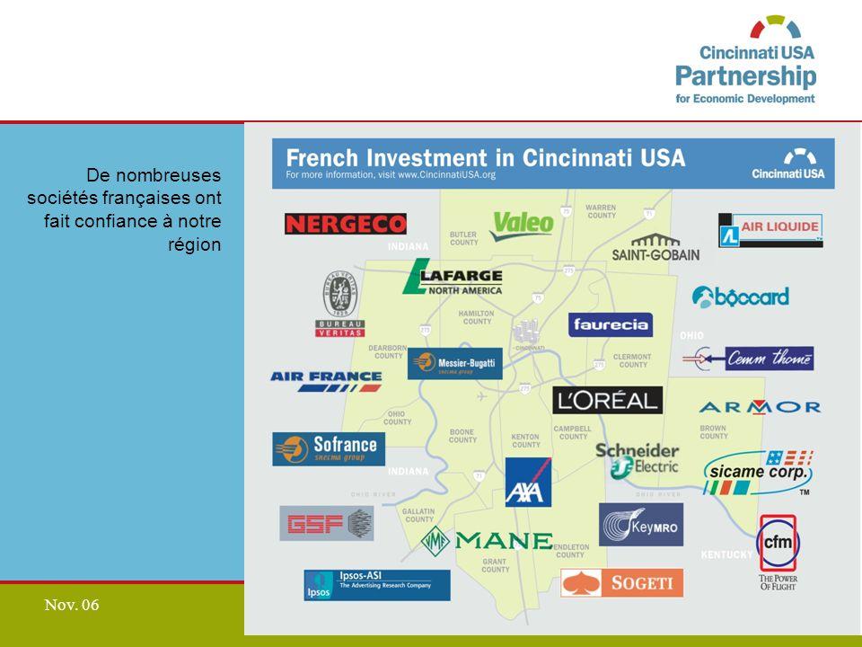 www.CincinnatiUSA.org Nov. 06 De nombreuses sociétés françaises ont fait confiance à notre région
