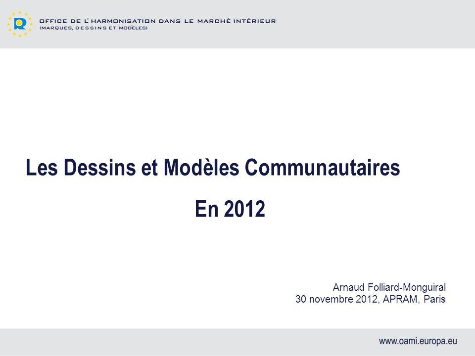 Les Dessins et Modèles Communautaires En 2012 Arnaud Folliard-Monguiral 30 novembre 2012, APRAM, Paris