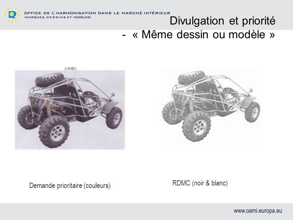 Divulgation et priorité - « Même dessin ou modèle » RDMC (noir & blanc) Demande prioritaire (couleurs)