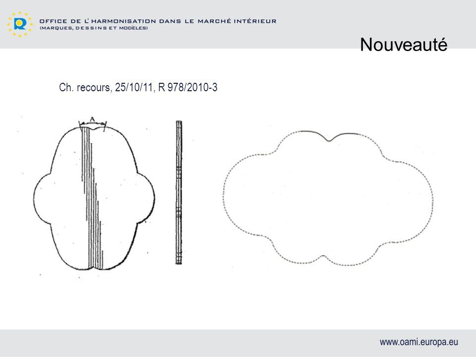 Nouveauté Ch. recours, 25/10/11, R 978/2010-3