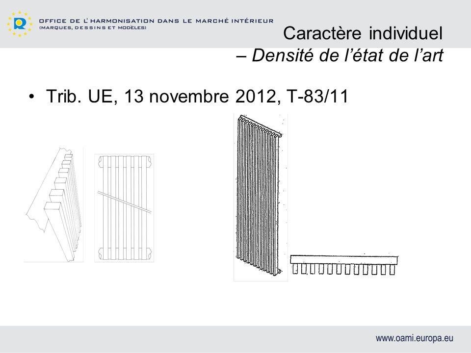 Caractère individuel – Densité de létat de lart Trib. UE, 13 novembre 2012, T-83/11