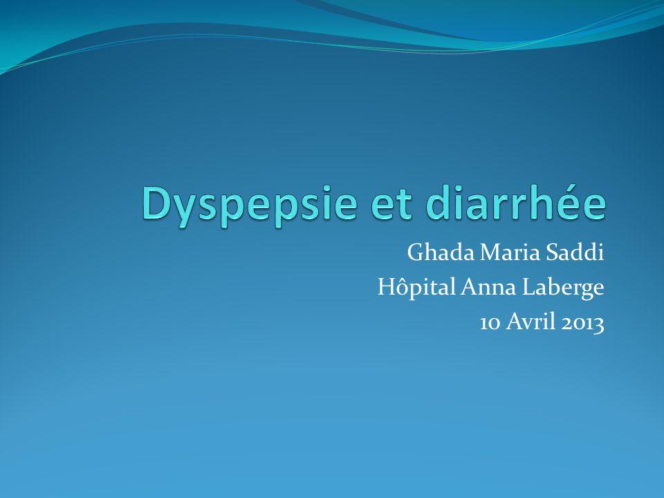 Dyspepsie, symptômes dalarme Age >55 Perte de poids Perte dappétit Vomissements Hémorragie digestive, anémie Histoire familiale cancer estomac Chirurgie gastrique antérieure