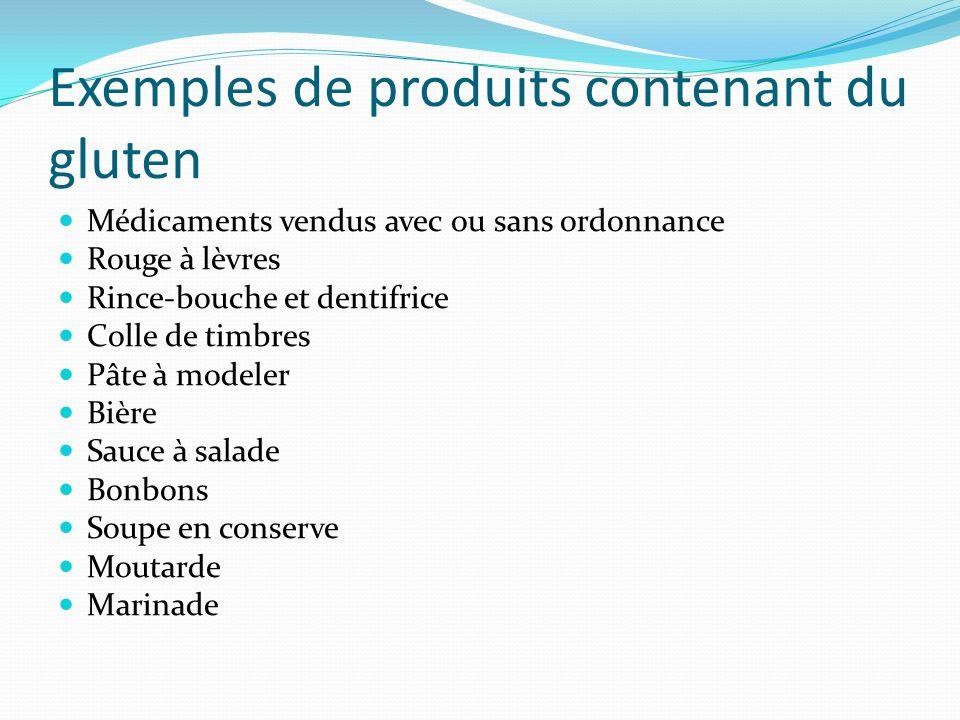 Exemples de produits contenant du gluten Médicaments vendus avec ou sans ordonnance Rouge à lèvres Rince-bouche et dentifrice Colle de timbres Pâte à