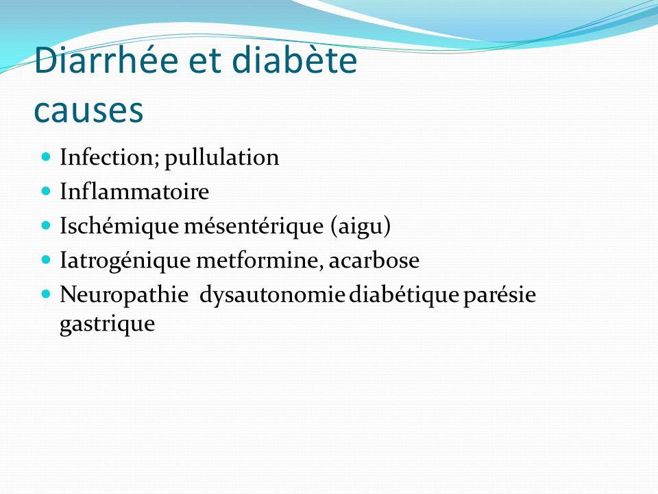 Diarrhée et diabète causes Infection; pullulation Inflammatoire Ischémique mésentérique (aigu) Iatrogénique metformine, acarbose Neuropathie dysautonomie diabétique parésie gastrique