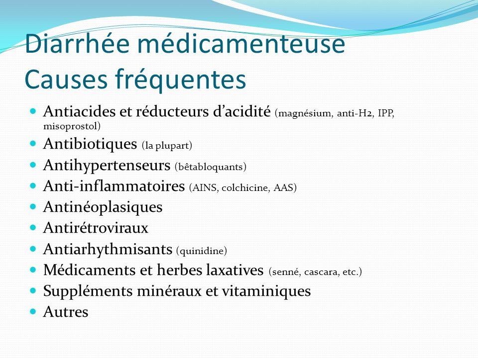 Diarrhée médicamenteuse Causes fréquentes Antiacides et réducteurs dacidité (magnésium, anti-H2, IPP, misoprostol) Antibiotiques (la plupart) Antihypertenseurs (bêtabloquants) Anti-inflammatoires (AINS, colchicine, AAS) Antinéoplasiques Antirétroviraux Antiarhythmisants (quinidine) Médicaments et herbes laxatives (senné, cascara, etc.) Suppléments minéraux et vitaminiques Autres