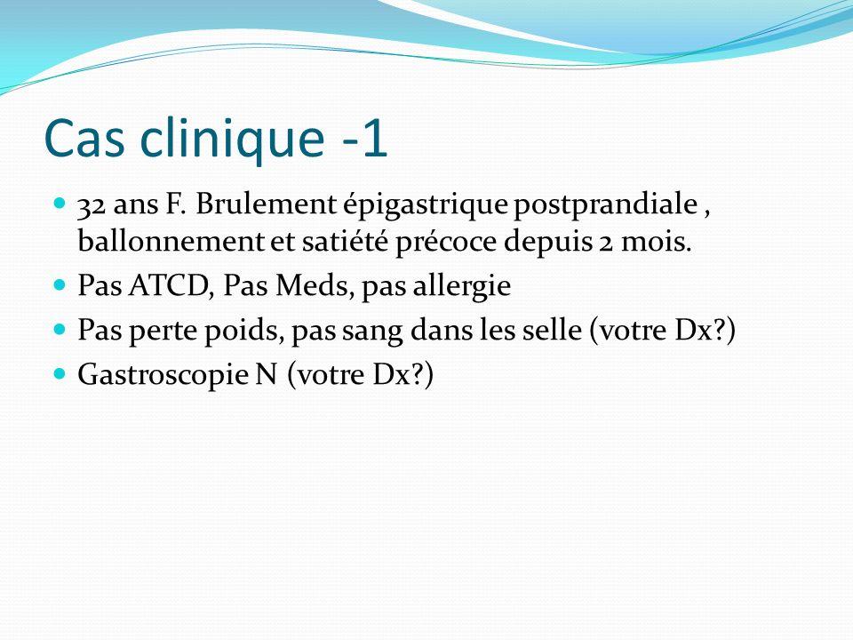 Cas clinique -1 32 ans F. Brulement épigastrique postprandiale, ballonnement et satiété précoce depuis 2 mois. Pas ATCD, Pas Meds, pas allergie Pas pe