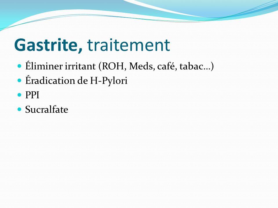 Gastrite, traitement Éliminer irritant (ROH, Meds, café, tabac…) Éradication de H-Pylori PPI Sucralfate