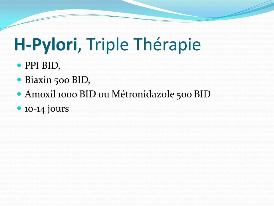 H-Pylori, Triple Thérapie PPI BID, Biaxin 500 BID, Amoxil 1000 BID ou Métronidazole 500 BID 10-14 jours