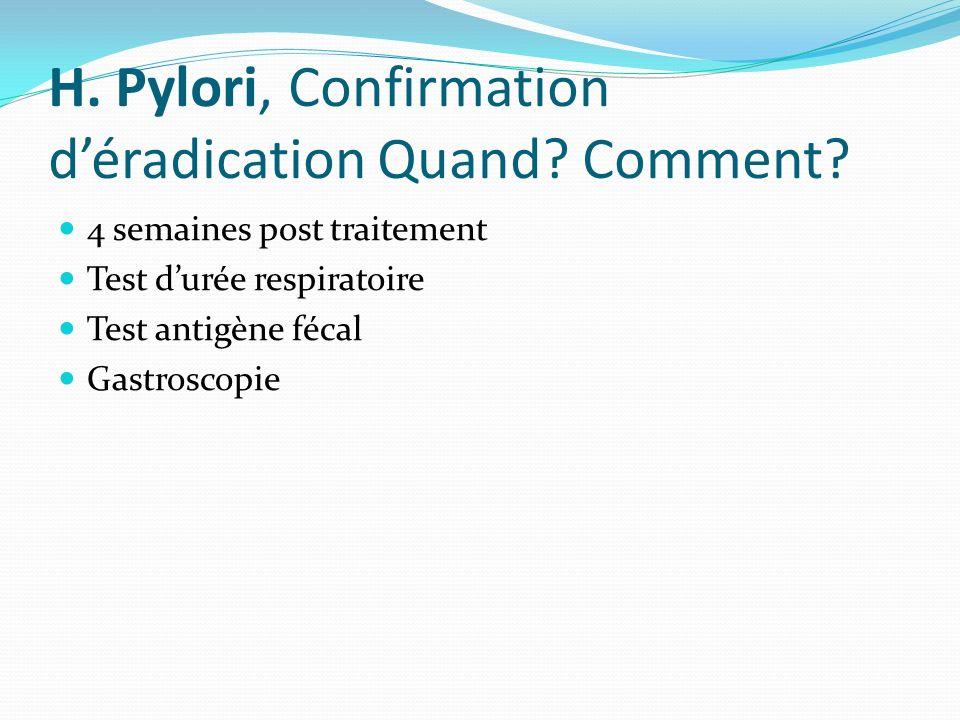 H. Pylori, Confirmation déradication Quand? Comment? 4 semaines post traitement Test durée respiratoire Test antigène fécal Gastroscopie