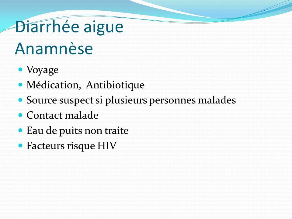 Diarrhée aigue Anamnèse Voyage Médication, Antibiotique Source suspect si plusieurs personnes malades Contact malade Eau de puits non traite Facteurs risque HIV