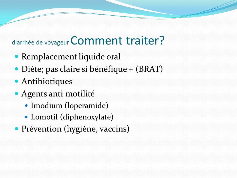 diarrhée de voyageur Comment traiter? Remplacement liquide oral Diète; pas claire si bénéfique + (BRAT) Antibiotiques Agents anti motilité Imodium (lo