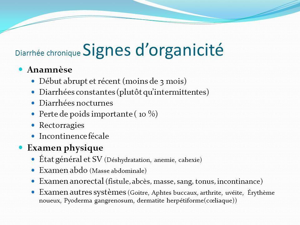 Diarrhée chronique Signes dorganicité Anamnèse Début abrupt et récent (moins de 3 mois) Diarrhées constantes (plutôt quintermittentes) Diarrhées nocturnes Perte de poids importante ( 10 %) Rectorragies Incontinence fécale Examen physique État général et SV (Déshydratation, anemie, cahexie) Examen abdo (Masse abdominale) Examen anorectal (fistule, abcès, masse, sang, tonus, incontinance) Examen autres systèmes (Goitre, Aphtes buccaux, arthrite, uvéite, Érythème noueux, Pyoderma gangrenosum, dermatite herpétiforme(cœliaque))