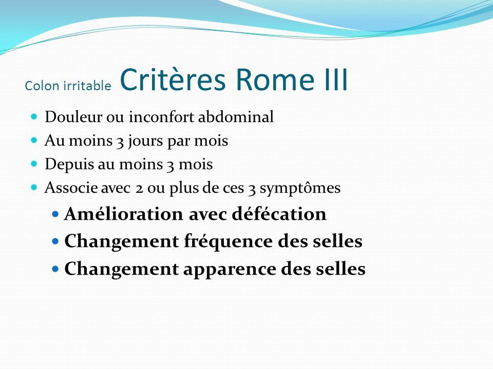 Colon irritable Critères Rome III Douleur ou inconfort abdominal Au moins 3 jours par mois Depuis au moins 3 mois Associe avec 2 ou plus de ces 3 symp