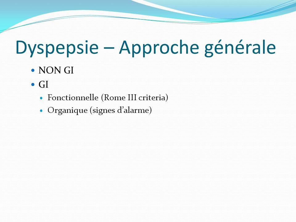 Dyspepsie – Approche générale NON GI GI Fonctionnelle (Rome III criteria) Organique (signes dalarme)