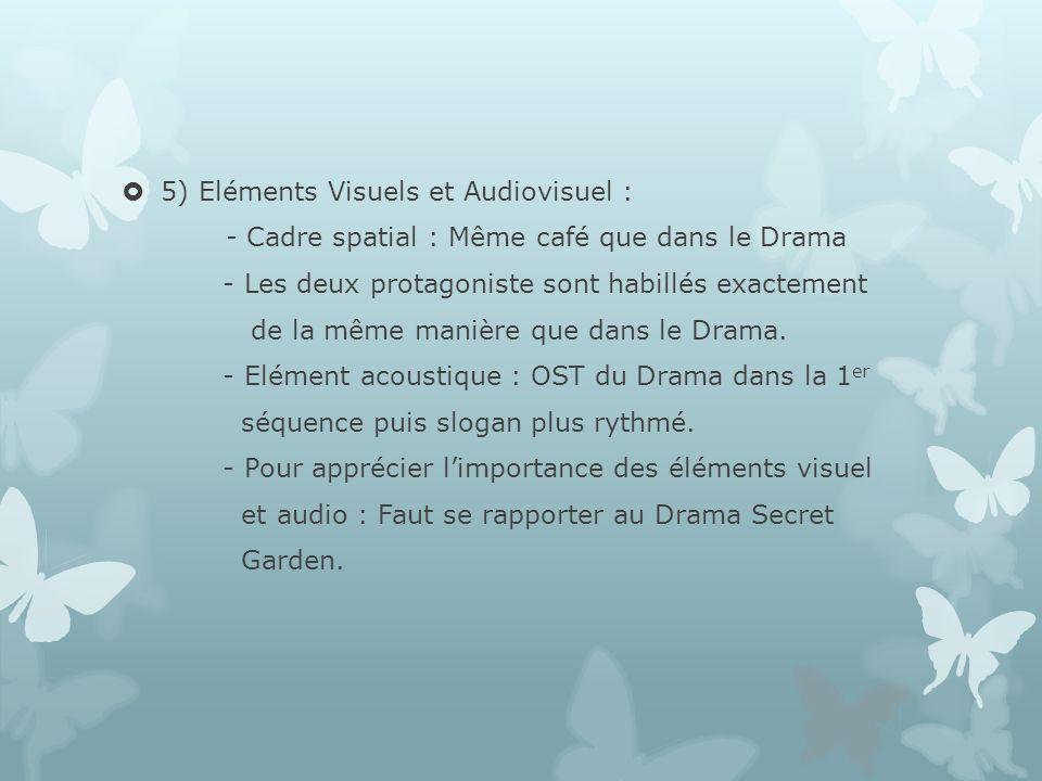 5) Eléments Visuels et Audiovisuel : - Cadre spatial : Même café que dans le Drama - Les deux protagoniste sont habillés exactement de la même manière que dans le Drama.