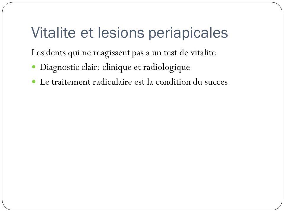 Vitalite et lesions periapicales Les dents qui ne reagissent pas a un test de vitalite Diagnostic clair: clinique et radiologique Le traitement radicu