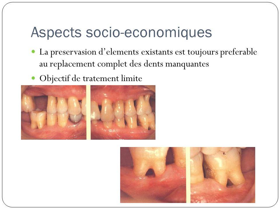 Aspects socio-economiques La preservasion delements existants est toujours preferable au replacement complet des dents manquantes Objectif de tratemen