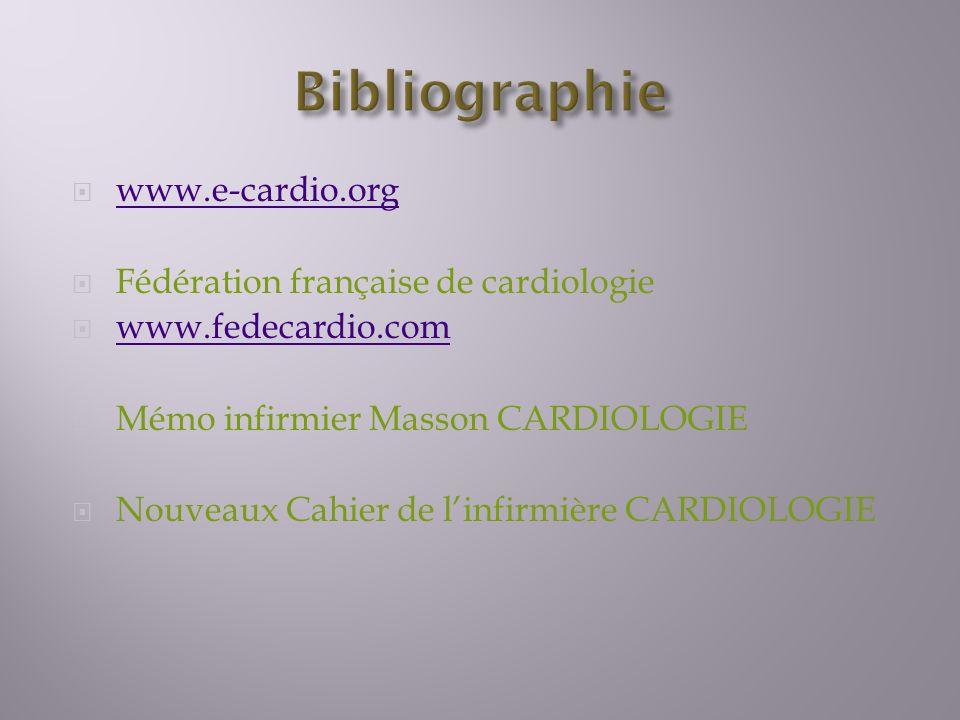 www.e-cardio.org Fédération française de cardiologie www.fedecardio.com Mémo infirmier Masson CARDIOLOGIE Nouveaux Cahier de linfirmière CARDIOLOGIE