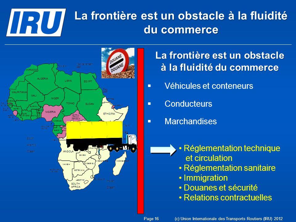 Page 16(c) Union Internationale des Transports Routiers (IRU) 2012 Réglementation technique et circulation Réglementation sanitaire Immigration Douane