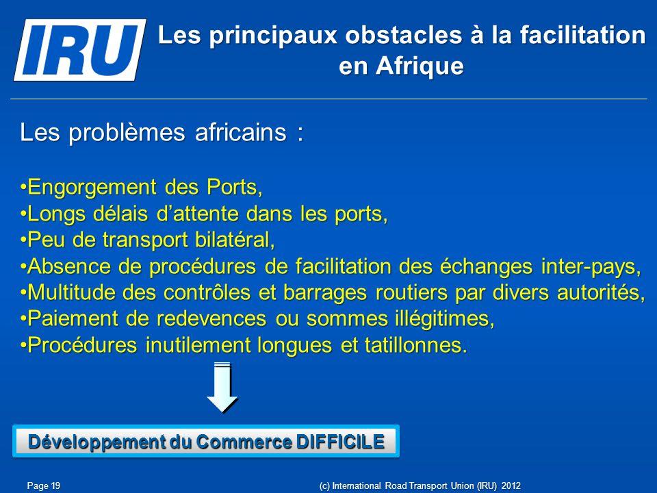 Les principaux obstacles à la facilitation en Afrique Les problèmes africains : Engorgement des Ports,Engorgement des Ports, Longs délais dattente dan