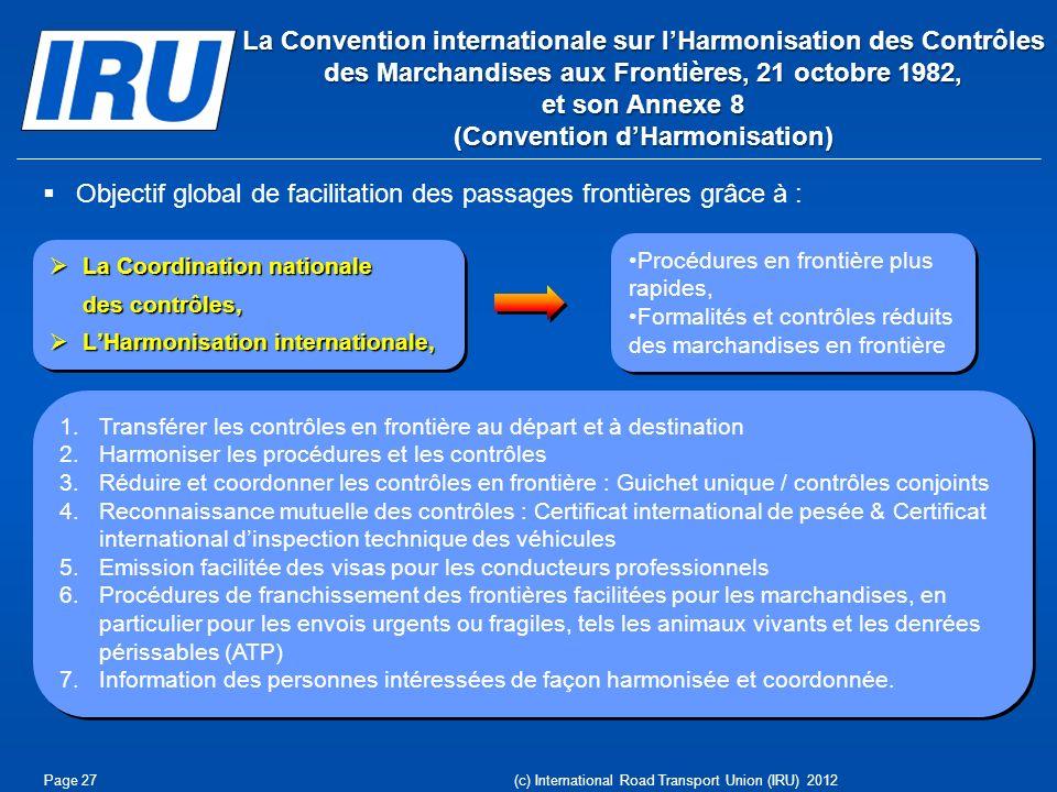 Objectif global de facilitation des passages frontières grâce à : La Coordination nationale La Coordination nationale des contrôles, LHarmonisation in