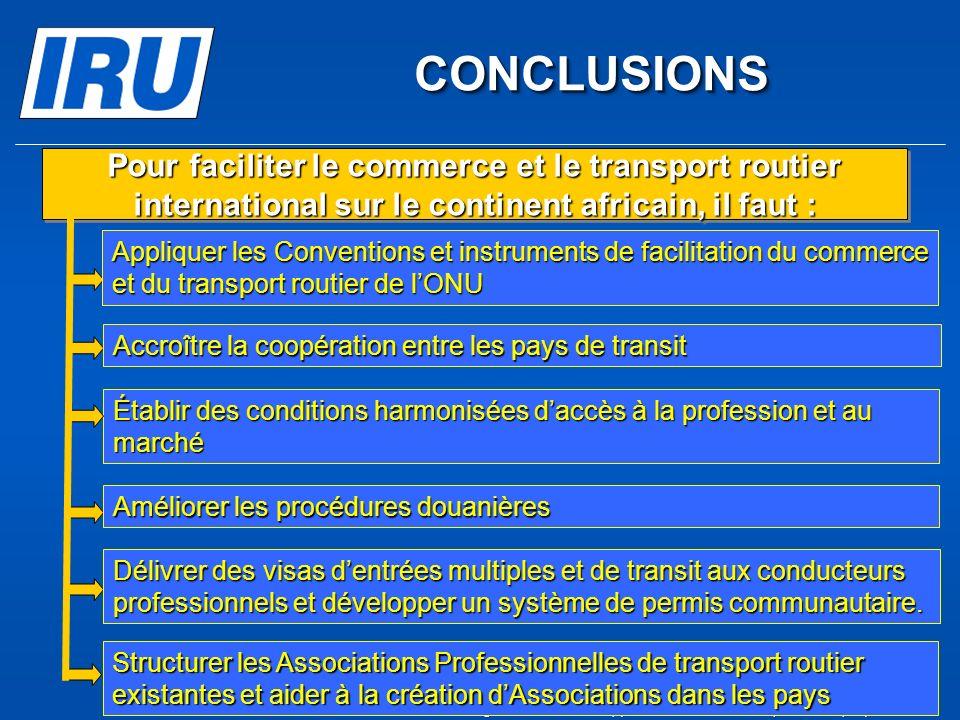 CONCLUSIONS CONCLUSIONS Établir des conditions harmonisées daccès à la profession et au marché Pour faciliter le commerce et le transport routier inte