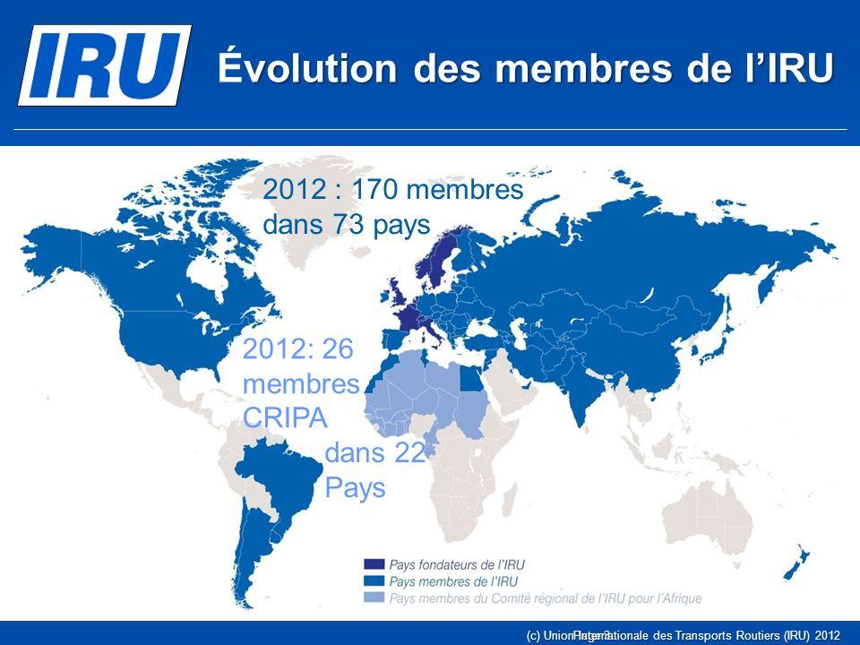 Page 3(c) Union Internationale des Transports Routiers (IRU) 2012 volution des membres de lIRU Évolution des membres de lIRU 1948 : huit pays fondateu