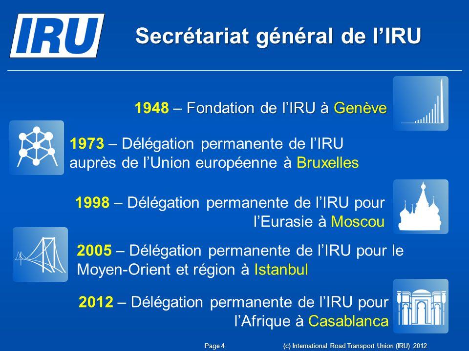 Secrétariat général de lIRU (c) International Road Transport Union (IRU) 2012Page 4 Fondation de lIRU à Genève 1948 – Fondation de lIRU à Genève 1973