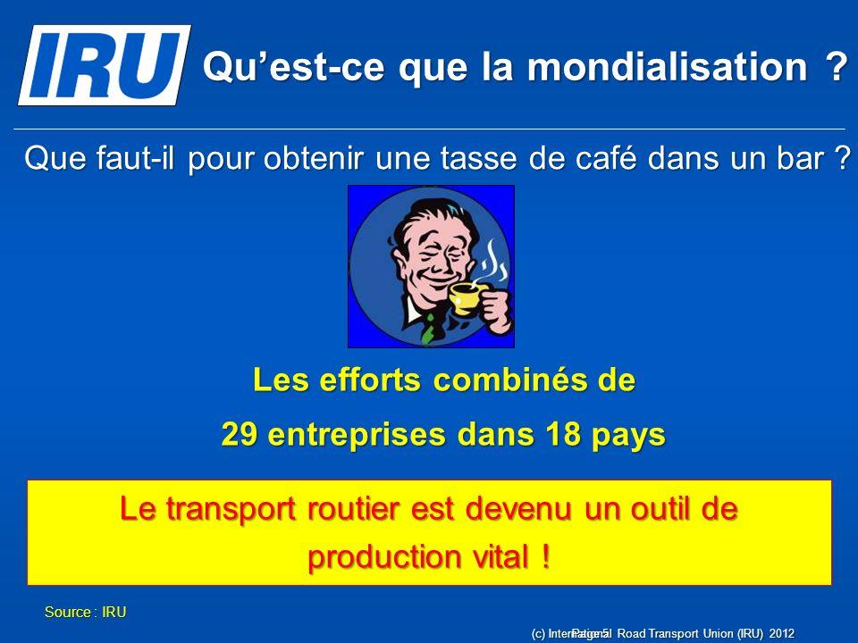 Quest-ce que la mondialisation ? Source : IRU Le transport routier est devenu un outil de production vital ! Que faut-il pour obtenir une tasse de caf