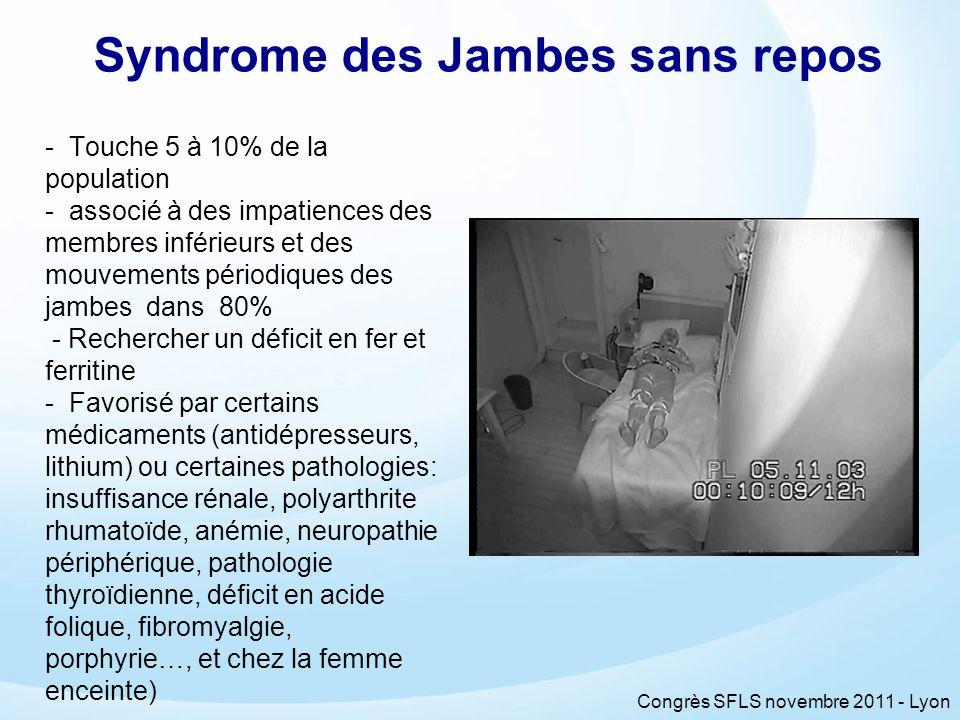 Congrès SFLS novembre 2011 - Lyon Syndrome des Jambes sans repos - Touche 5 à 10% de la population - associé à des impatiences des membres inférieurs
