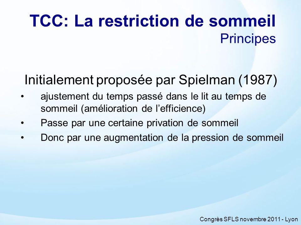 Congrès SFLS novembre 2011 - Lyon TCC: La restriction de sommeil Principes Initialement proposée par Spielman (1987) ajustement du temps passé dans le