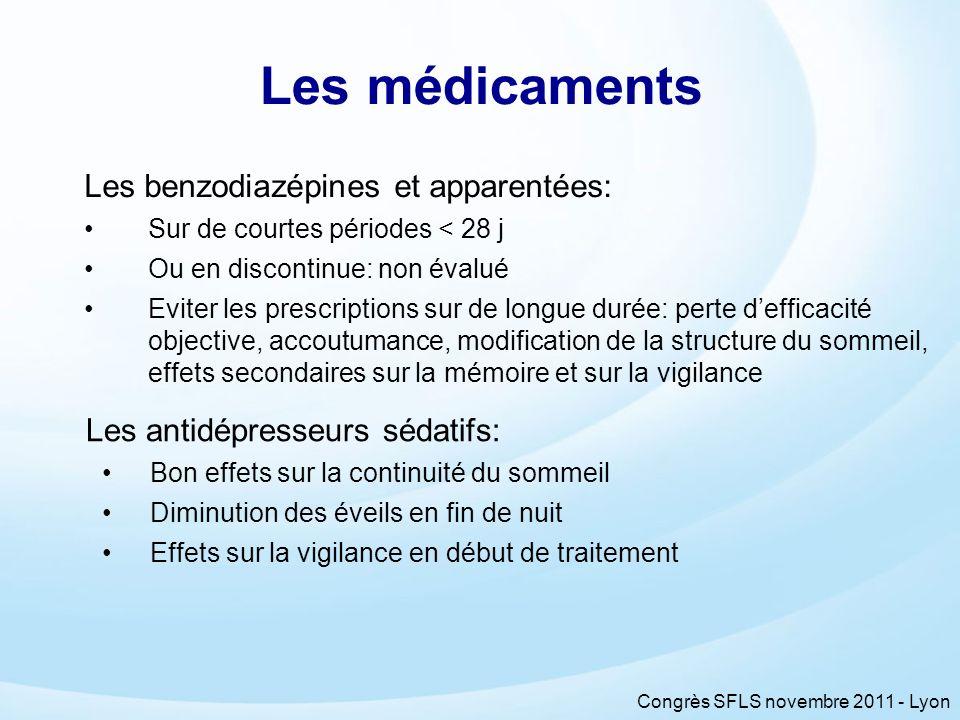Congrès SFLS novembre 2011 - Lyon Les médicaments Les benzodiazépines et apparentées: Sur de courtes périodes < 28 j Ou en discontinue: non évalué Evi