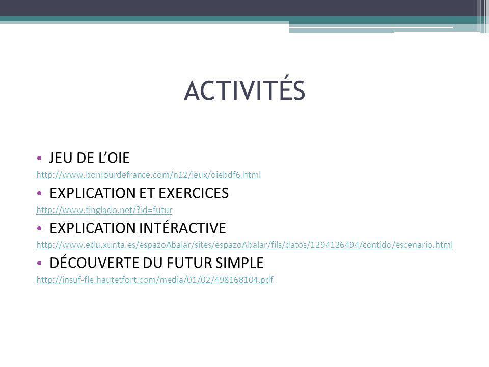 ACTIVITÉS JEU DE LOIE http://www.bonjourdefrance.com/n12/jeux/oiebdf6.html EXPLICATION ET EXERCICES http://www.tinglado.net/?id=futur EXPLICATION INTÉ
