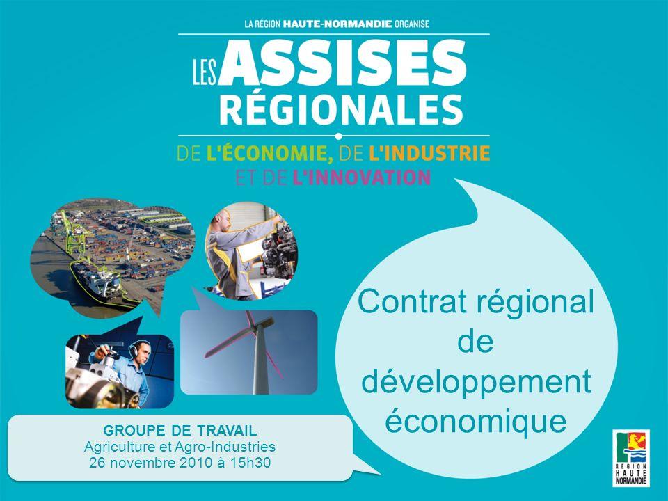 Contrat régional de développement économique GROUPE DE TRAVAIL Agriculture et Agro-Industries 26 novembre 2010 à 15h30 GROUPE DE TRAVAIL Agriculture et Agro-Industries 26 novembre 2010 à 15h30