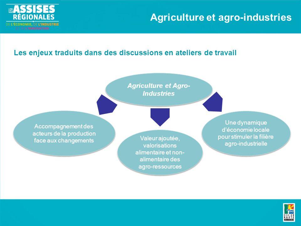 Les enjeux traduits dans des discussions en ateliers de travail Une dynamique déconomie locale pour stimuler la filière agro-industrielle Valeur ajoutée, valorisations alimentaire et non- alimentaire des agro-ressources Agriculture et Agro- Industries Accompagnement des acteurs de la production face aux changements Agriculture et agro-industries