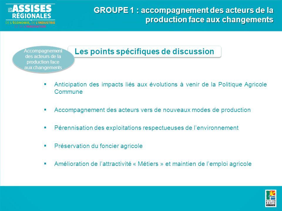 Les points spécifiques de discussion Accompagnement des acteurs de la production face aux changements Anticipation des impacts liés aux évolutions à v