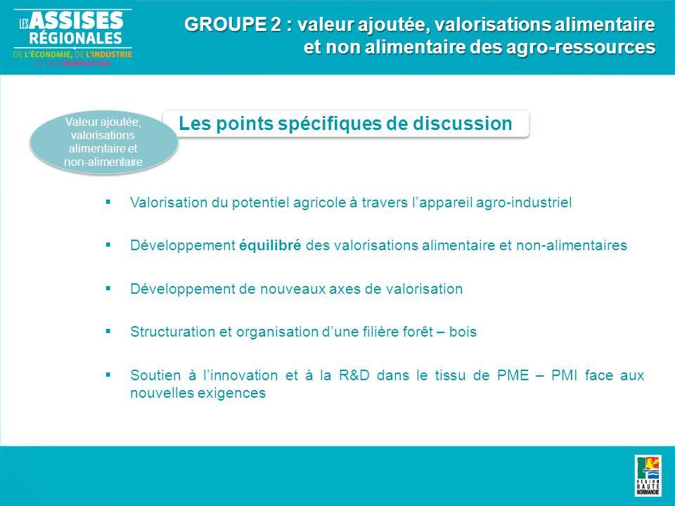 Les points spécifiques de discussion Valeur ajoutée, valorisations alimentaire et non-alimentaire GROUPE 2 : valeur ajoutée, valorisations alimentaire