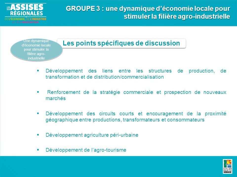 Les points spécifiques de discussion Une dynamique déconomie locale pour stimuler la filière agro- industrielle GROUPE 3 : une dynamique déconomie loc