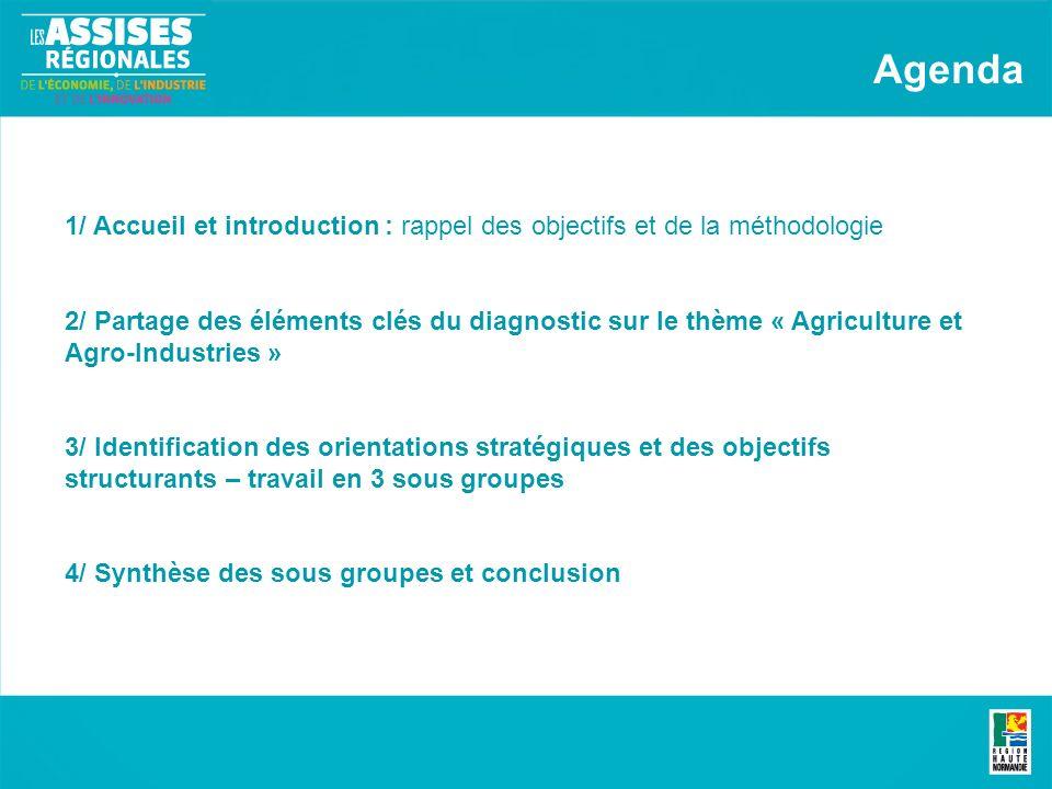 1/ Accueil et introduction : rappel des objectifs et de la méthodologie 2/ Partage des éléments clés du diagnostic sur le thème « Agriculture et Agro-Industries » 3/ Identification des orientations stratégiques et des objectifs structurants – travail en 3 sous groupes 4/ Synthèse des sous groupes et conclusion Agenda