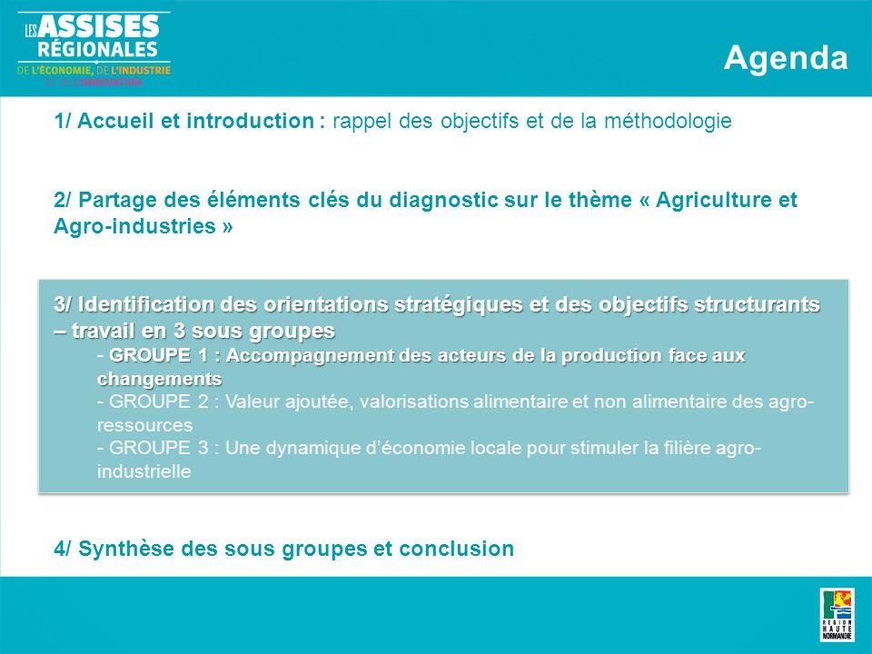 1/ Accueil et introduction : rappel des objectifs et de la méthodologie 2/ Partage des éléments clés du diagnostic sur le thème « Agriculture et Agro-industries » 3/ Identification des orientations stratégiques et des objectifs structurants – travail en 3 sous groupes GROUPE 1 : Accompagnement des acteurs de la production face aux changements - GROUPE 1 : Accompagnement des acteurs de la production face aux changements - GROUPE 2 : Valeur ajoutée, valorisations alimentaire et non alimentaire des agro- ressources - GROUPE 3 : Une dynamique déconomie locale pour stimuler la filière agro- industrielle 4/ Synthèse des sous groupes et conclusion Agenda